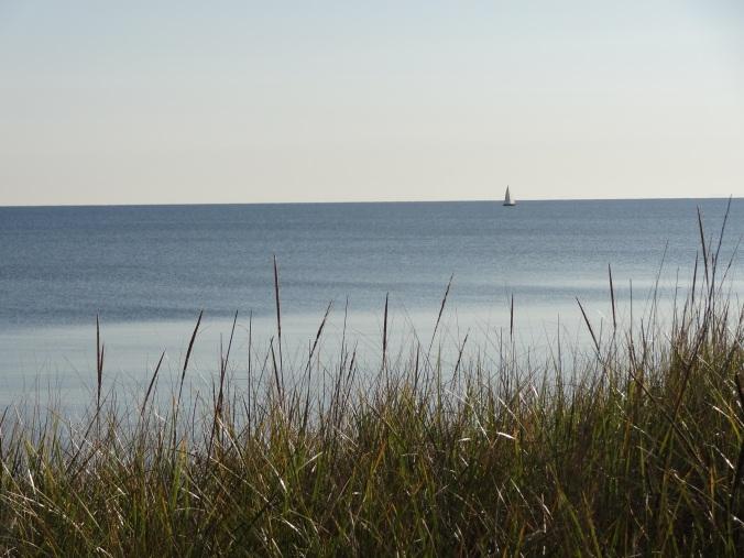 A sailboat off Park Point Beach in Duluth, Minn.