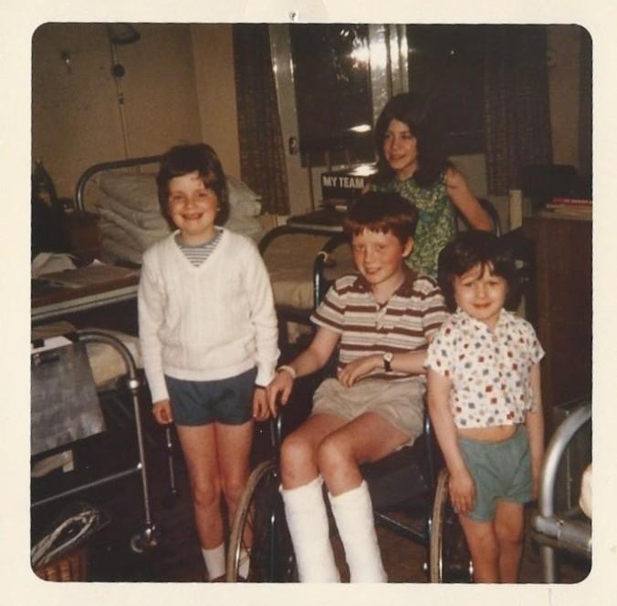 My hospitalmates in London: Steve, red-haired Steve, and little Robert. I'm pushing red-haired Steve's chair.